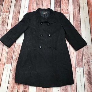 Halogen Black Jacquard Pea Coat